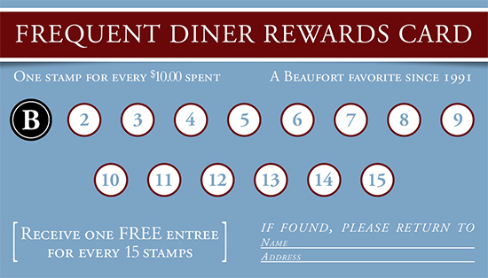 Blackstones Cafe Breakfas Lunch Beaufort Frequent Diners Rewards Card